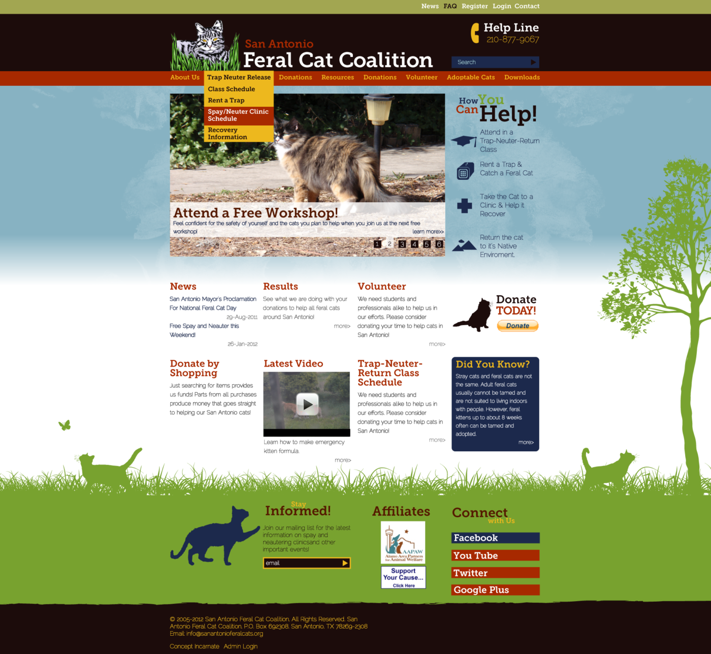 San Antonio Feral Cat Coalition Website Design