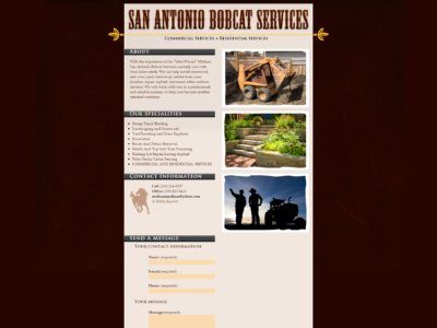 San Antonio Bobcat Services Website