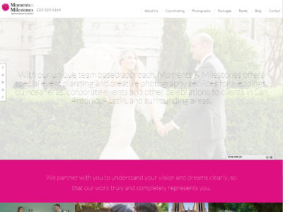 Moments and Milestones Website Homepage